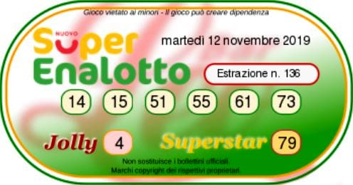 Estrazione SuperEnalotto oggi 12 novembre 2019-2