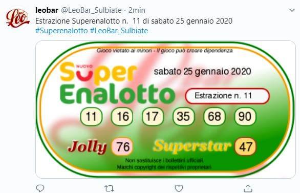 Estrazioni Lotto SuperEnalotto oggi sabato 25 gennaio 2020