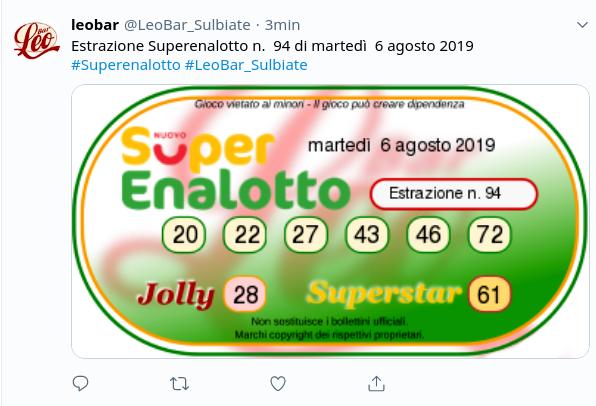 Estrazioni Lotto SuperEnalotto oggi martedì 6 agosto 2019 ...
