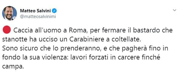 Salvini commenta la vicenda del carabiniere ucciso a Roma-2