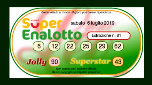 superenalotto oggi 6 luglio 2019-2