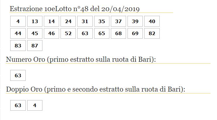 Estrazioni 10eLotto sabato 20 aprile 2019-2
