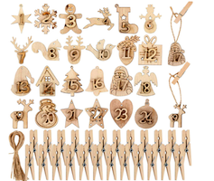 Calendario dell'avvento con ciondoli in legno-2