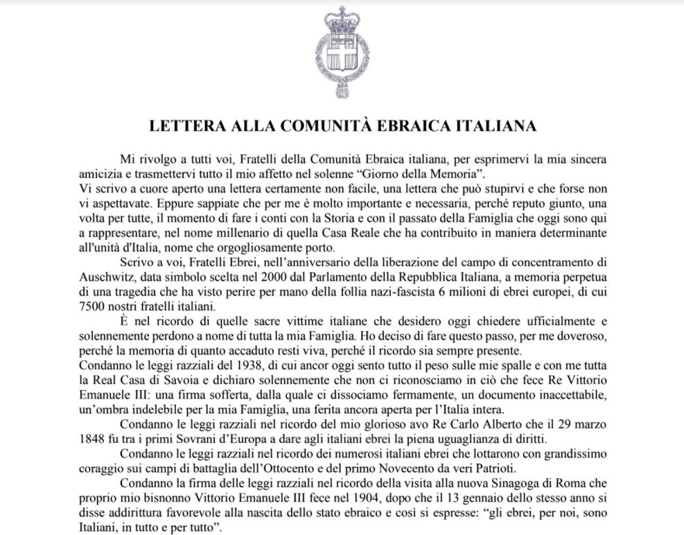 """La lettera di Emanuele Filiberto alla comunità ebraica: """"Chiedo perdono a  nome di tutta la famiglia Savoia"""""""