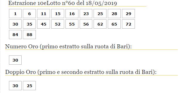 10elotto oggi numeri 18 maggio 2019-2