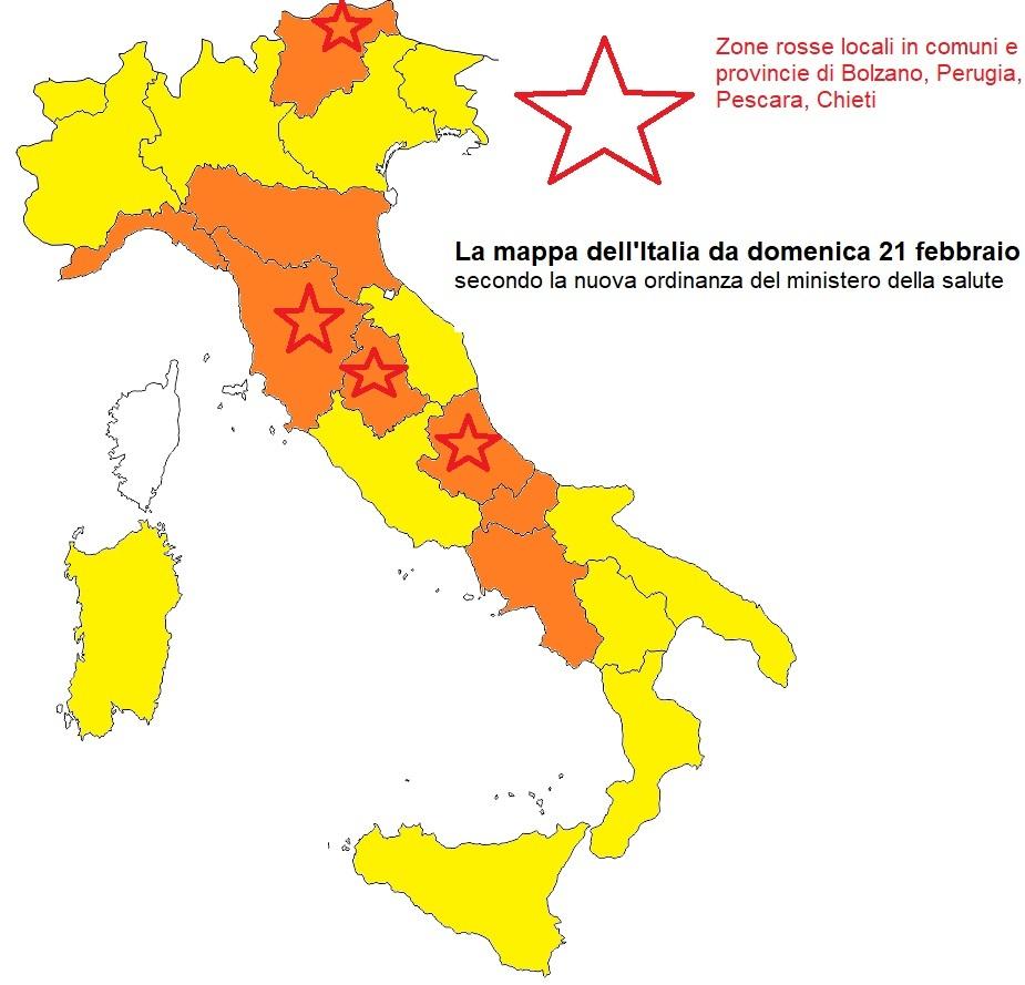 colori regioni italia da domenica 21 febbraio 2021-2