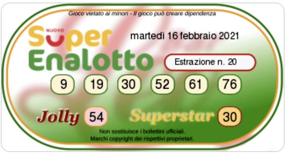 Lotto Draws Today And Superenalotto Numbers On Tuesday 16 February 2021 Archyde