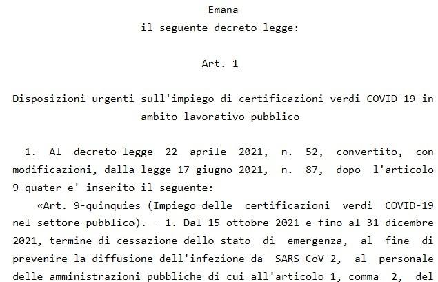 decreto green pass lavoro-2