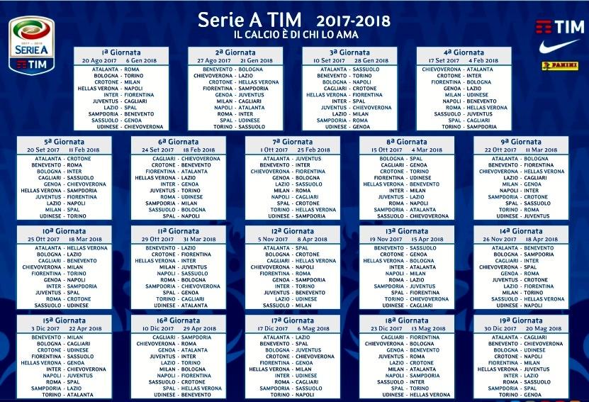 Calendario Serie A Seconda Giornata.Serie A Live Orari Prima Giornata Diretta Streaming E