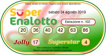 superenalotto sabato 24 agosto 2019-2