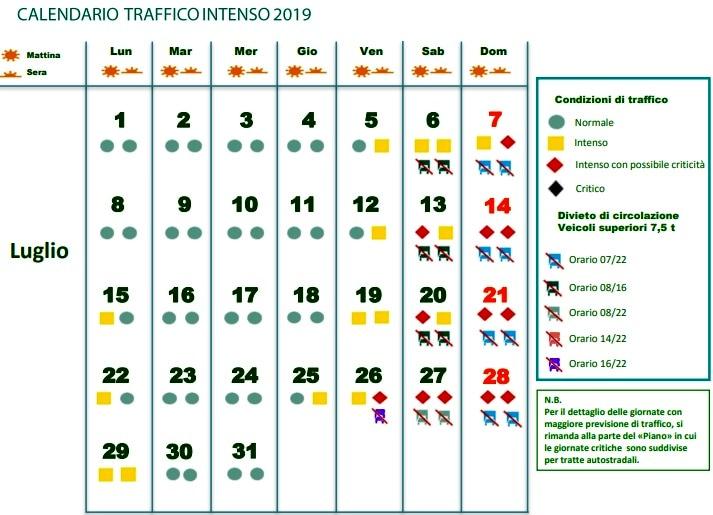 Calendario Circolazione Autocarri 2019.Calendario Traffico Divieto Circolazione Tir Esodo 2019