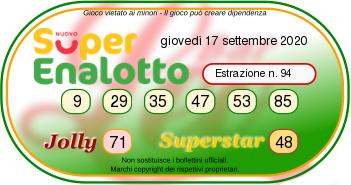Sorteggio Superenalotto oggi 17 settembre 2020-2