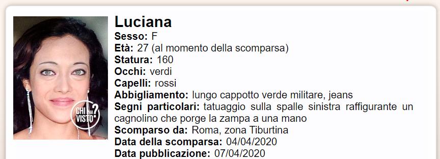 Scomparsa Luciana Martinelli Chi l'ha visto-2-2