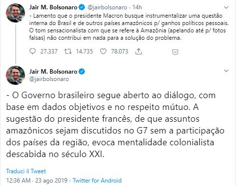 bolsonaro amazzonia macron twitter-2