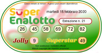 superenalotto numeri 18 febbraio 2020-2