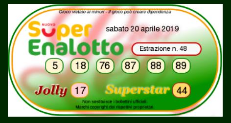 Estrazione SuperEnalotto numeri oggi sabato 20 aprile 2019-2