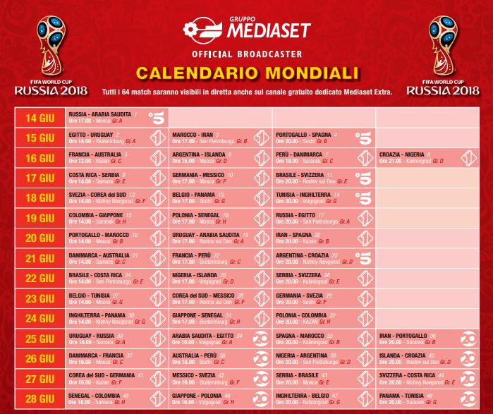 Calendario Partite Mondiale 2020.Partite Mondiali Calendario Calendario 2020