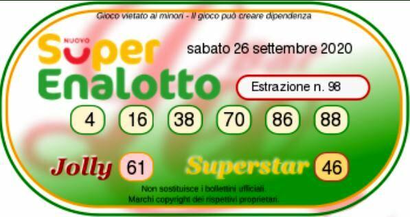 superenalotto 26-2 septembre