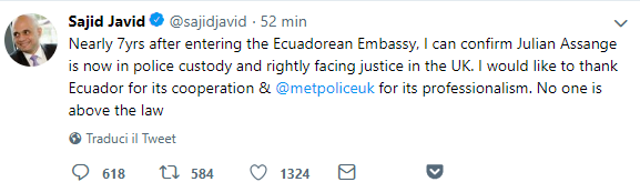 sajiv david tweet arresto assange-2