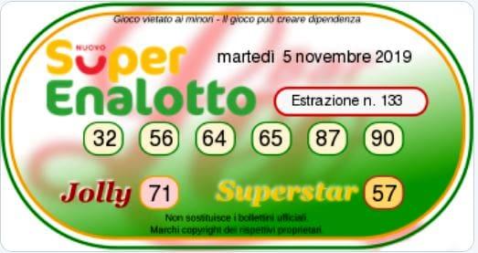 Estrazione SuperEnalotto oggi 5 novembre 2019-2