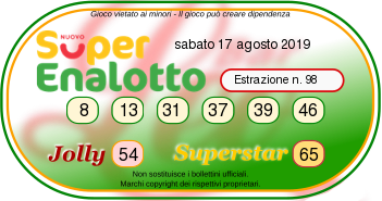superenalotto 17 agosto 2019-2