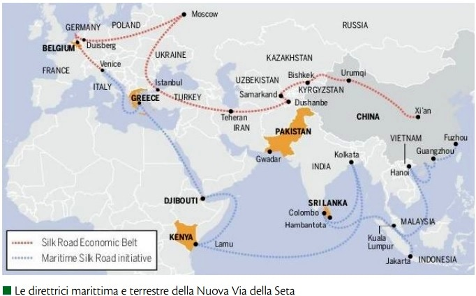 Nel dettaglio, dei nuovi collegamenti della BRI uno interessa l'Italia: la via marittima dal porto cinese di Fuzhou ai porti di nordest