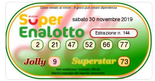 Estrazione oggi SuperEnalotto 30 novembre 2019-2