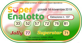 estrazioni superenalotto oggi giovedì 14 novembre 2019-2