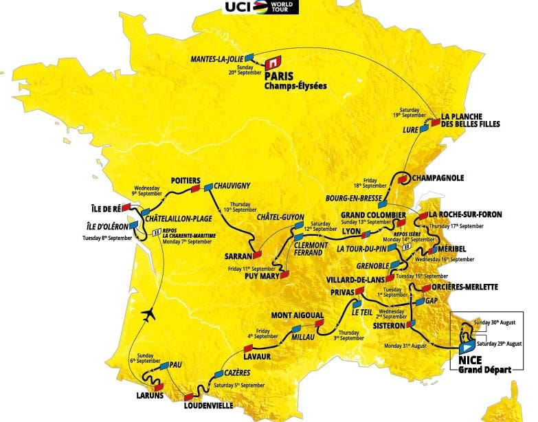 percorso tour de france 2020-2