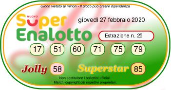 superenalotto 27 febbraio 2020-2