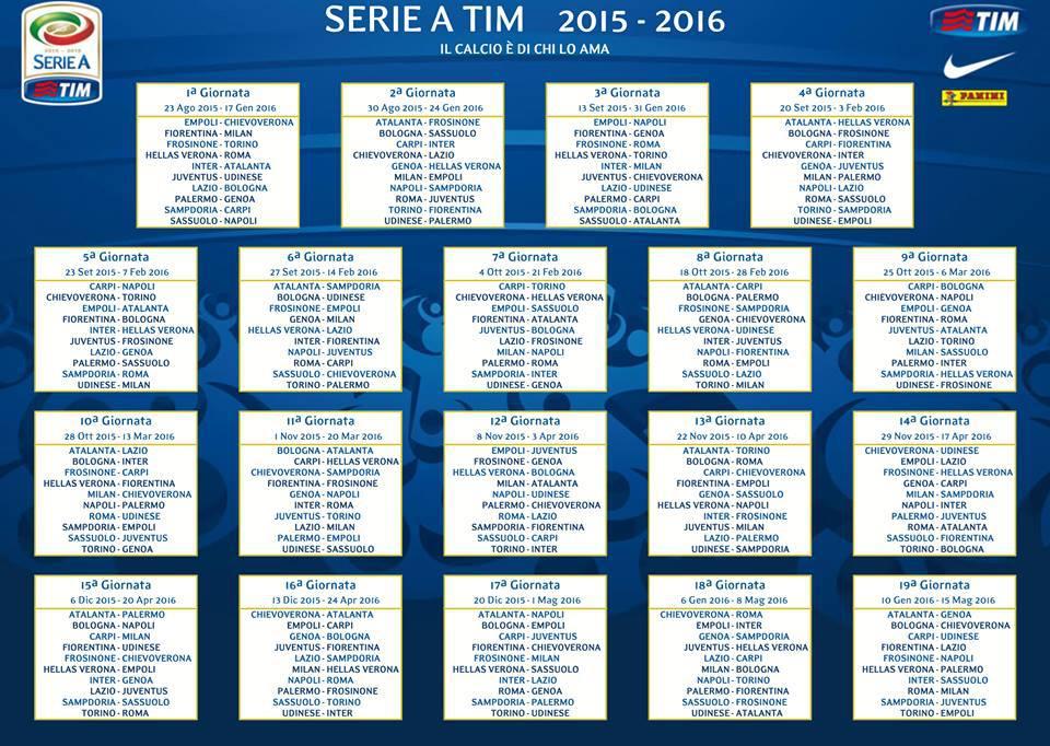 Calendario Campionato Calcio.Calendario Calcio Serie A 2015 2016