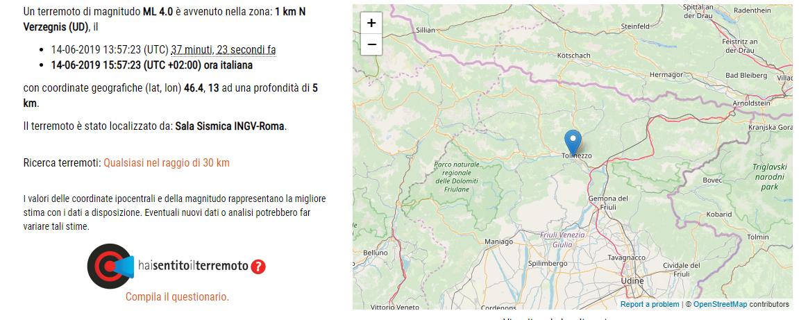 terremoto tolmezzo ingv 14 giugno 2019-2