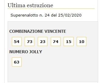 superenalotto 25 febbraio 2020-2