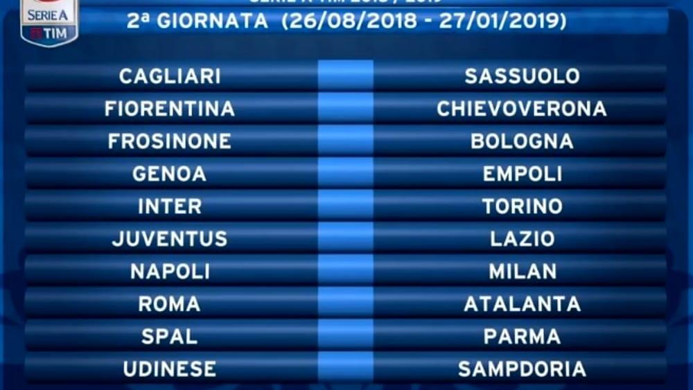 Calendario Serie A Sampdoria.Calendario Serie A 2018 2019 Date Turni Infrasettimanali
