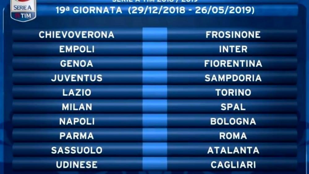Calendario Seirie A.Calendario Serie A 2018 2019 Date Turni Infrasettimanali