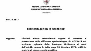 ordinanza sardegna 18 marzo-2