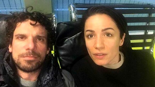 Andrea Delogu e Francesco Montanari in un selfie insieme