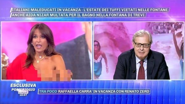 VIDEO | Aida Nizar fuori di seno a Pomeriggio Cinque: imbarazzo in diretta tv