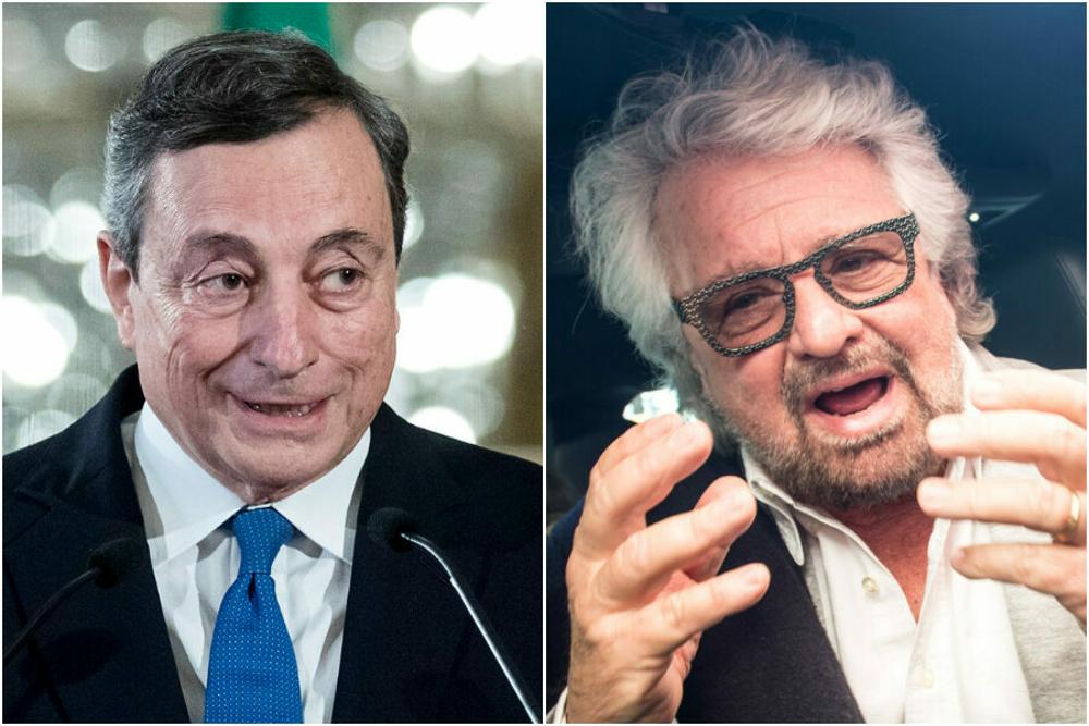 Risultato immagini per Draghi e Grillo immagini