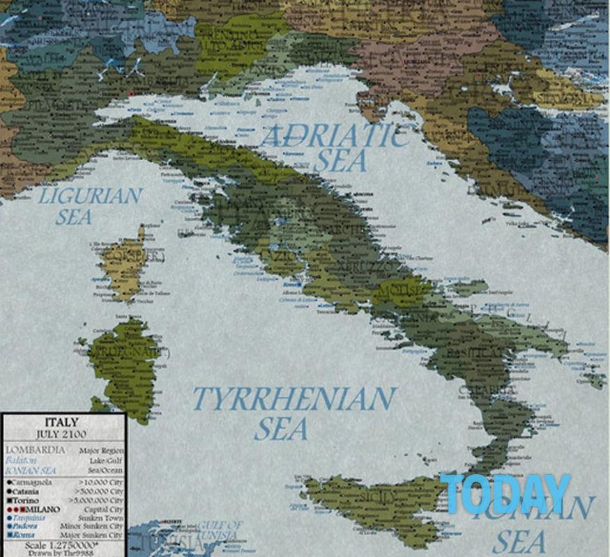 Cartina Italia Pianure.Fotonotizia L Italia Nel 2100 Sara Cosi Roma Sott Acqua E Addio Pianura Padana