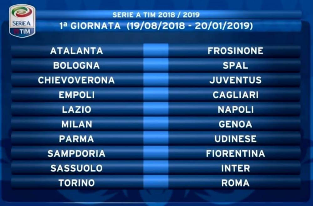 Calendario Serie A 2018 2019 Date Turni Infrasettimanali Soste Anticipi E Posticipi