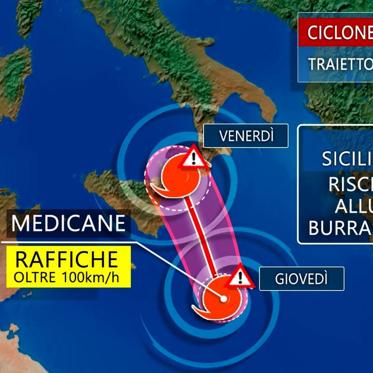 """Il ciclone mediterraneo """"Medicane"""" fa paura: le previsioni per i prossimi giorni"""